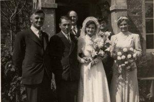 Wedding of Alban Polden and Olive Burt 1940 L to R: Owen, Alban, Alfred Burt, Olive, Florence Burt, unknown