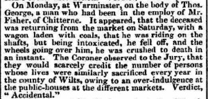 George, Thomas - 1833 inquest report Salisbury and Winchester Journal dated 16 December 1833