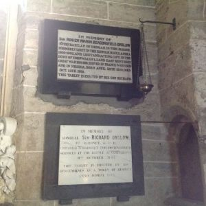Memorial tablets to Admiral Sir Richard Onslow 1sr bart. bottom, and Sir Roger Warin Beaconsfield Onslow 6th bart.