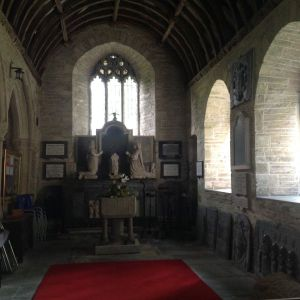 The side aisle of St Tudy Church. Site of the memorial tablets to the Onslow family.