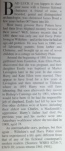 Article found in an old magazine concerning Harry Potter