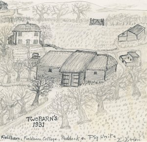 Drawing of Two Barns by the late Ernie George