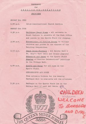 Chitterne fete programme 1977 small
