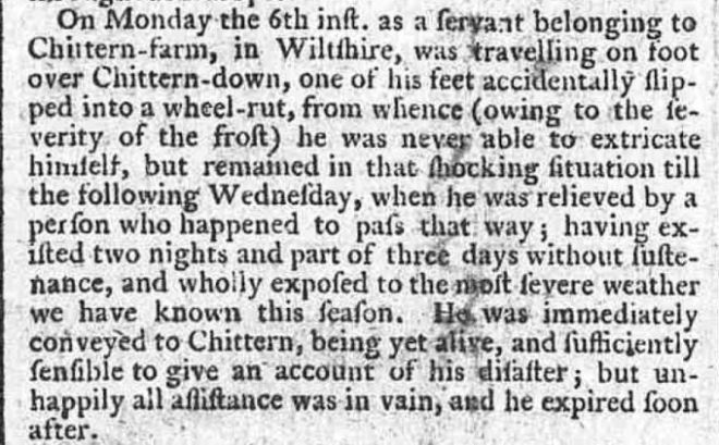 Derrys, Edward possibly, 1786 death on downs Norfolk Chronicle 25 Mar 1786 small