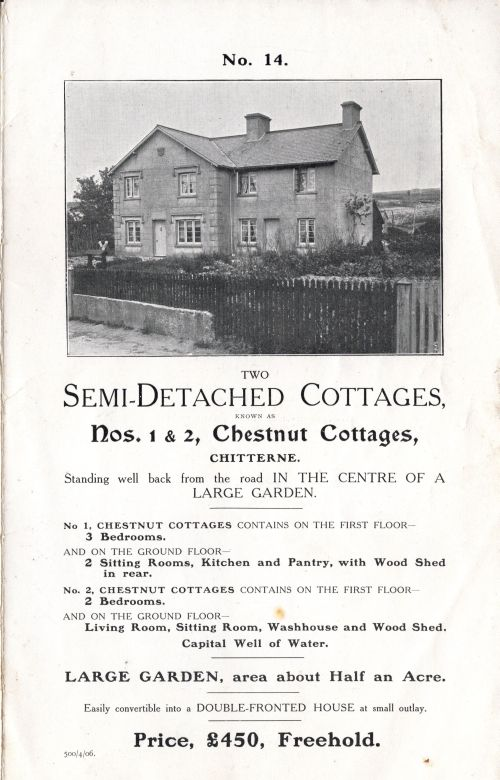 1905 Sale of Cottages Chestnut Cottages