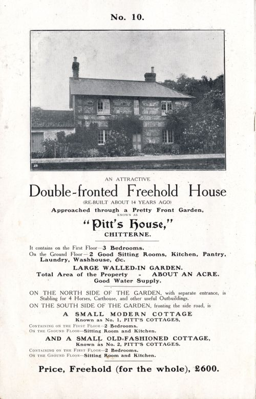 1905 Sale of Cottages Pitt's House