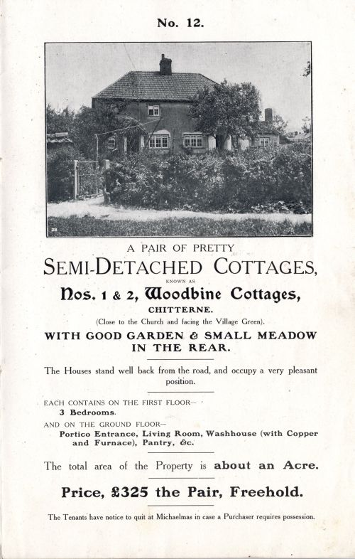 1905 Sale of Cottages Woodbine Cottages