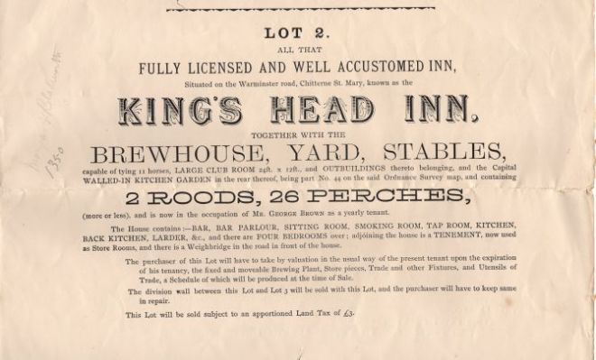 kings head sale 1896