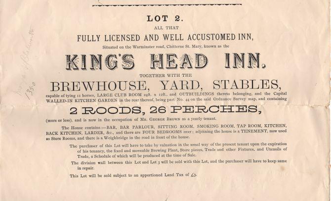 kings head sale 1896