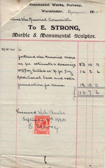 memorial cross stonemason receipt