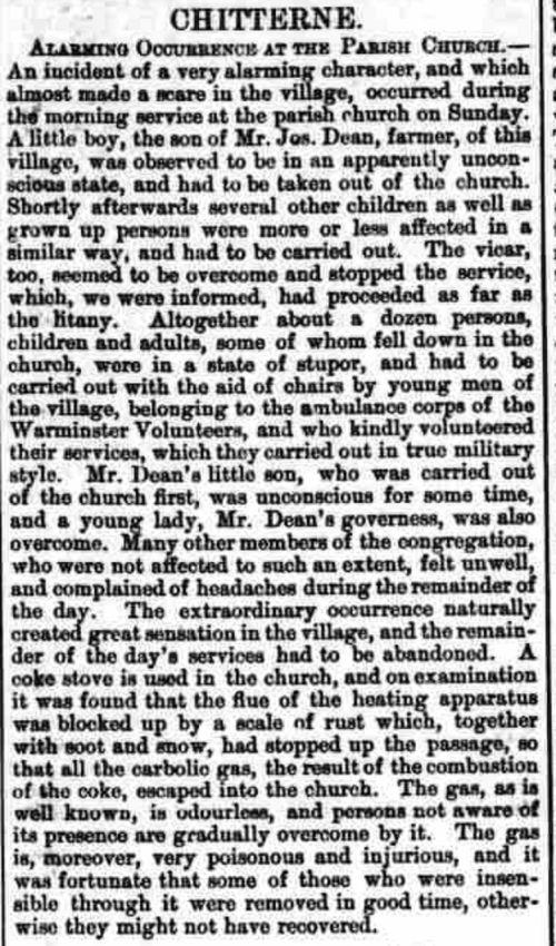 church gassing Warminster Petty Sessions Warminster & Westbury Journal 8 January 1887